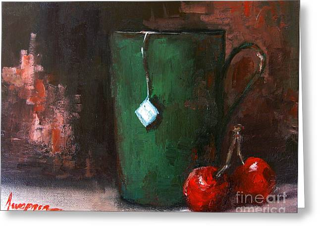 Interior Still Life Paintings Greeting Cards - Cherry Tea in green mug Greeting Card by Patricia Awapara