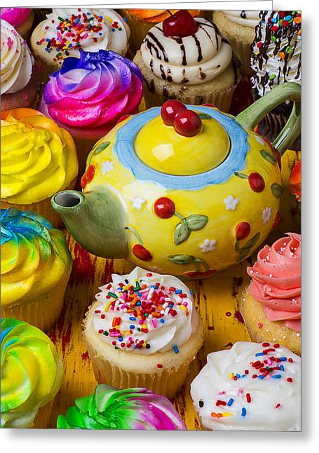Frosting Greeting Cards - Cherry teapot and cupcakes Greeting Card by Garry Gay
