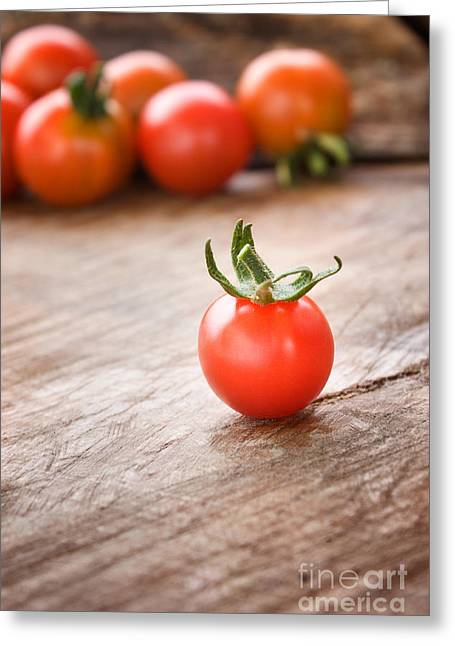 Mythja Greeting Cards - Cherry tomatoes background Greeting Card by Mythja  Photography