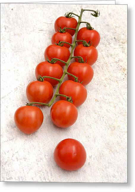 Directly Above Greeting Cards - Cherry tomatoes Greeting Card by Bernard Jaubert