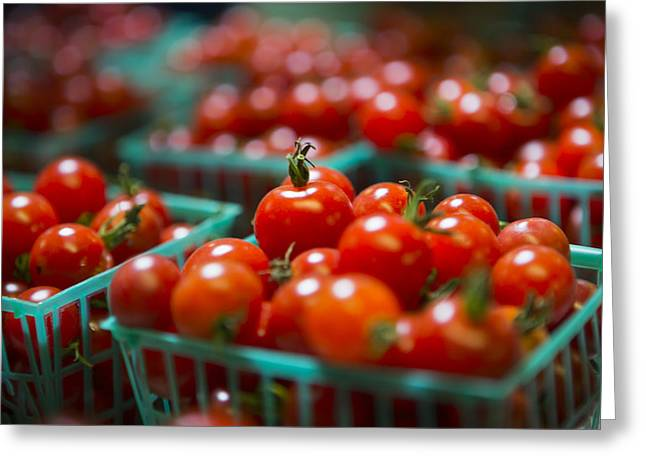 Farm Stand Greeting Cards - Cherry Tomatoes Greeting Card by Caitlyn  Grasso