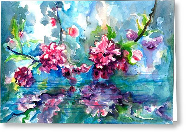 Cherry Blossoms Paintings Greeting Cards - Cherry Tree Blossom Mirroring in Water Greeting Card by Tiberiu Soos