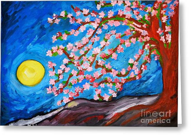 Cherry Blossoms Paintings Greeting Cards - Cherry Tree in Blossom  Greeting Card by Ramona Matei