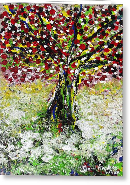 Fruit Tree Drawings Greeting Cards - Cherry Tree Greeting Card by Melinda Firestone-White