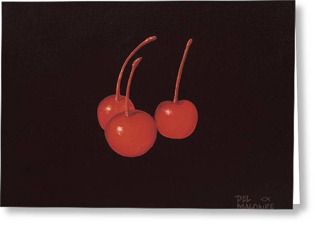 Truffles Greeting Cards - Cherry Trio Greeting Card by Del Malonee