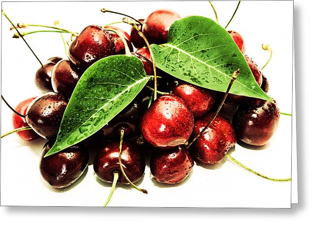 Fresh Food Greeting Cards - Cherry with lovely drops Greeting Card by Toppart Sweden