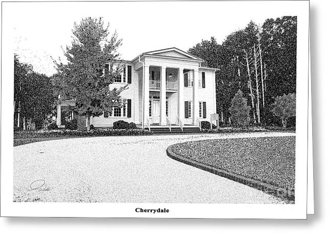 Historic Home Mixed Media Greeting Cards - CHERRYDALE -  Architectural Rendering Greeting Card by Andrew Wells