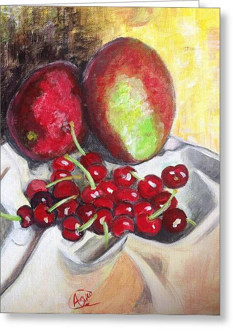 Mango Paintings Greeting Cards - Cherrytime Greeting Card by Asuncion Purnell