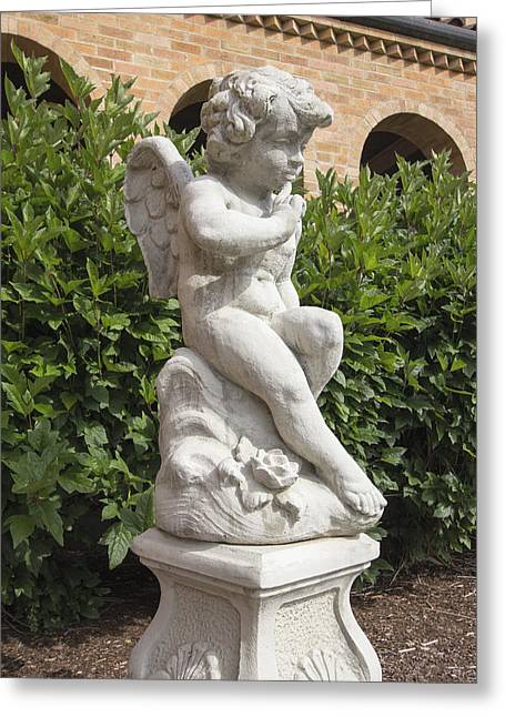 Garden Statuary Greeting Cards - Cherub Cast Stone Garden Statuary Portrait Greeting Card by JPLDesigns