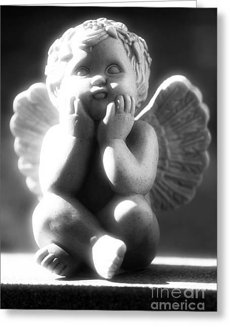 Black White Spiritual Angel Art Greeting Cards - Cherub Greeting Card by John Rizzuto