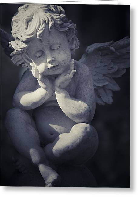 Marble Eye Greeting Cards - Cherub Greeting Card by Maria Heyens