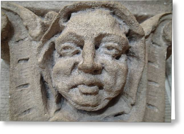 Carved Stone Greeting Cards - Cherubic Stone Face Greeting Card by Geoff Strehlow
