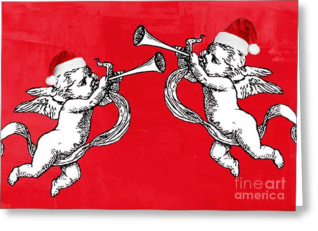Chris Cringle Greeting Cards - Cherubims and Santa Hats Greeting Card by Mindy Bench