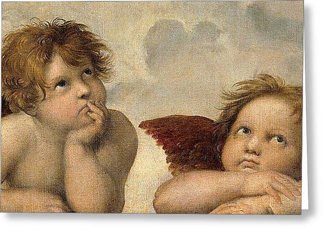 Sistine Paintings Greeting Cards - Cherubs - Detail from the Sistine Madonna Greeting Card by Raphael