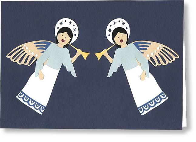 Fluttering Paintings Greeting Cards - Cherubs Greeting Card by Isobel Barber
