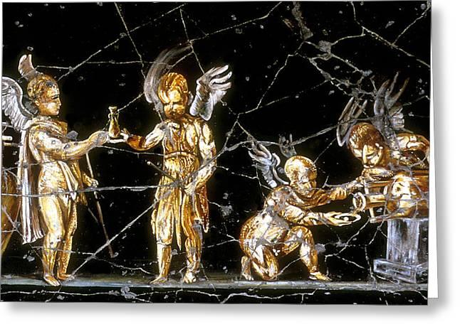 Cherubs Of Bacchus - Detail No. 1 Greeting Card by Steve Bogdanoff