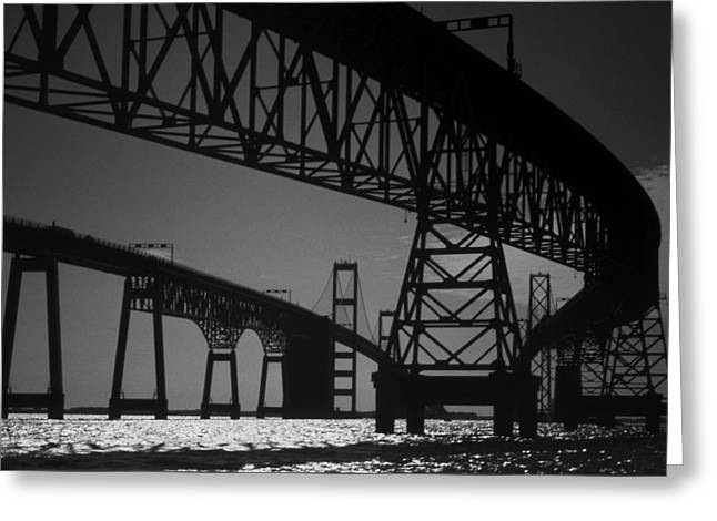 Scenic Drive Photographs Greeting Cards - Chesapeake Bay Bridge At Annapolis Greeting Card by Skip Willits