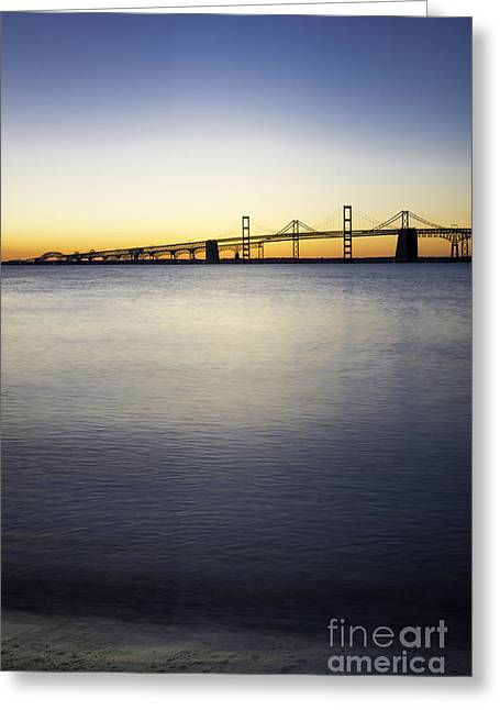 Sandy Point Park Greeting Cards - Chesapeake Bay Bridge Just Before Sunrise Vertical Greeting Card by Brycia James