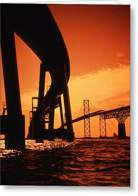 Annapolis Maryland Greeting Cards - Chesapeake Bay Bridge Greeting Card by Skip Willits