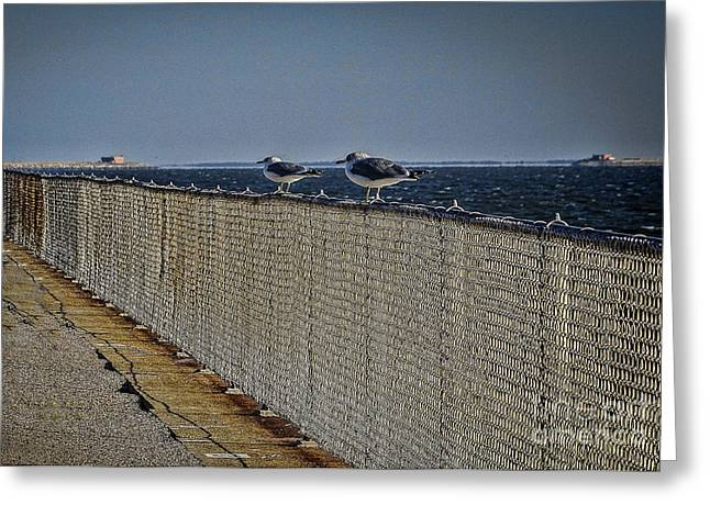 Artowrk Greeting Cards - Chesapeake Bay Bridge Tunnel Greeting Card by Melissa Messick