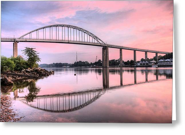 Chesapeake Bay Bridge Greeting Cards - Chesapeake City Pink Greeting Card by JC Findley