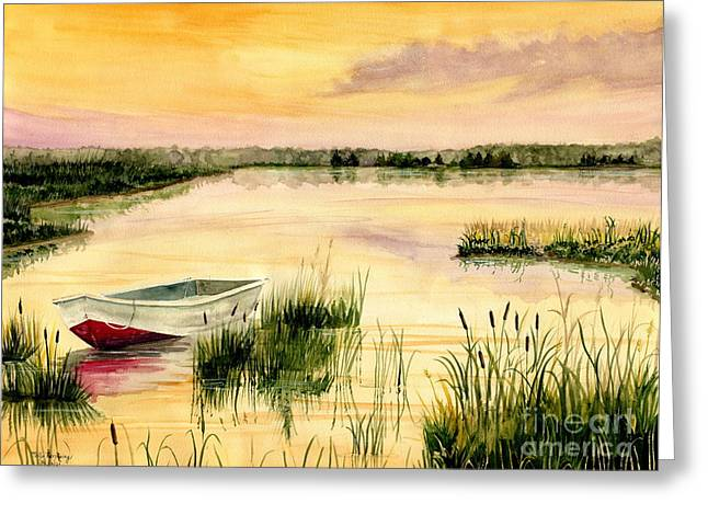 Boats In Water Greeting Cards - Chesapeake Marsh Greeting Card by Melly Terpening