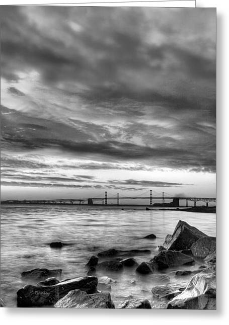 Chesapeake Bay Bridge Greeting Cards - Chesapeake Mornings BW Greeting Card by JC Findley