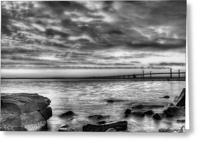 Chesapeake Bay Bridge Greeting Cards - Chesapeake Splendor BW Greeting Card by JC Findley