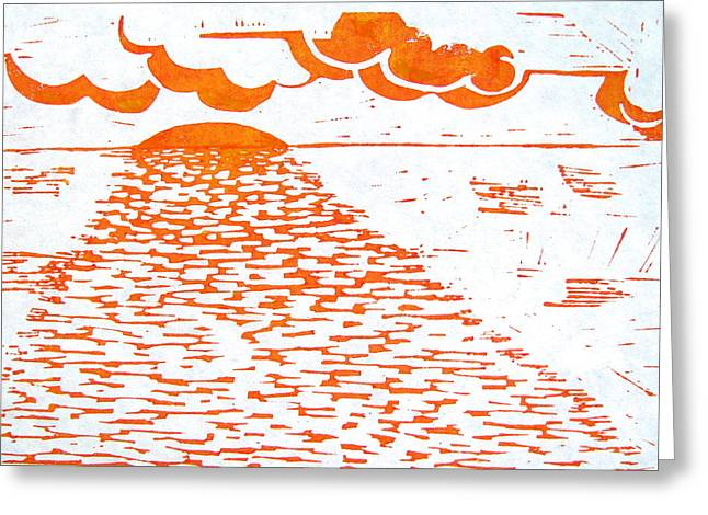 Ocean. Reflection Drawings Greeting Cards - Chesapeake Sunrise Greeting Card by Linda Williams