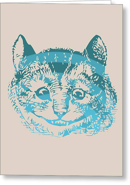 Smoking Book Greeting Cards - Cheshire Cat Portrait Greeting Card by