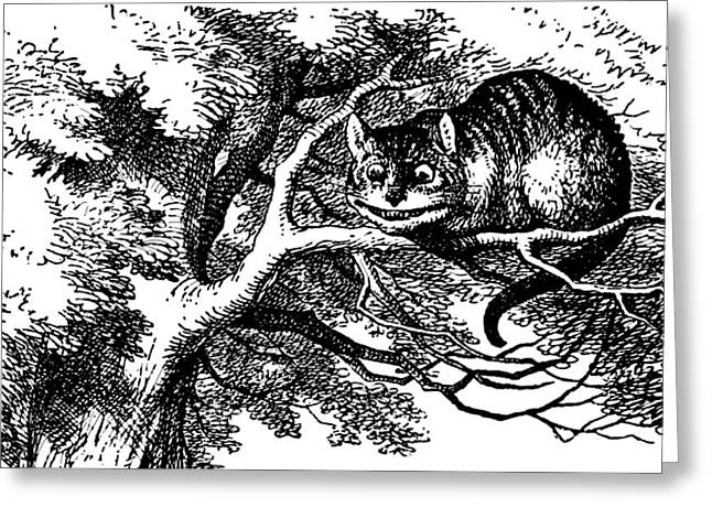 Tree Lines Drawings Greeting Cards - Cheshire Cat Smiling Greeting Card by John Tenniel