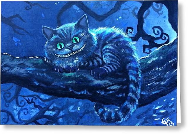 Cheshire Cat Greeting Card by Tom Carlton