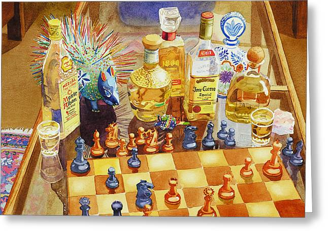 Chess Greeting Cards - Chess and Tequila Greeting Card by Mary Helmreich