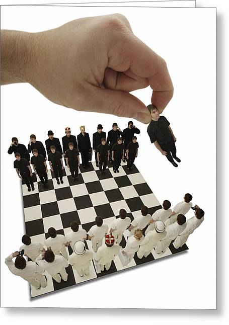 Visual Metaphor Greeting Cards - Chess Being Played With Little People Greeting Card by Darren Greenwood