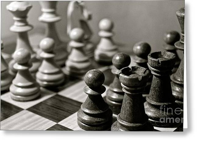 Pastimes Greeting Cards - Chess Greeting Card by David Warrington