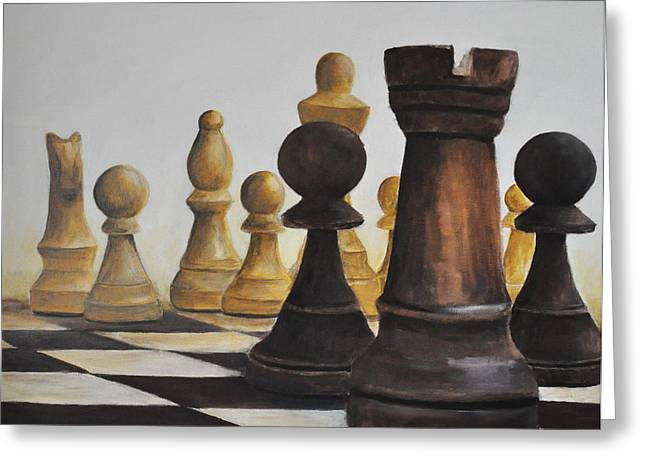 Board Game Paintings Greeting Cards - Chess game Greeting Card by Elena Hasnas