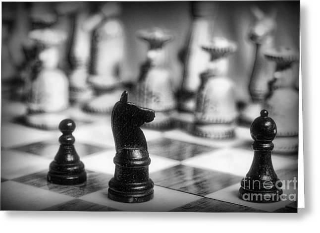 Chess Player Greeting Cards - Chess Game in black and white Greeting Card by Paul Ward