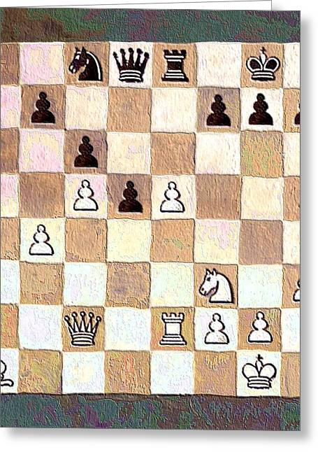 Chess Piece Paintings Greeting Cards - Chess Game Greeting Card by Linda Mears