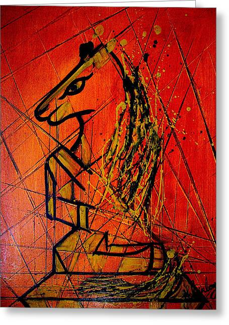 Strategy Paintings Greeting Cards - Chess Horse Greeting Card by J Scheinberg
