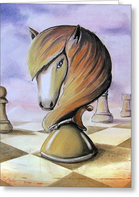 Checker Pastels Greeting Cards - Chess Horse Greeting Card by Kevin Escobar