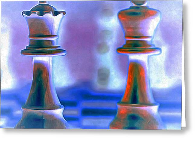Chess Piece Digital Greeting Cards - Chess King and Queen 20140918 Greeting Card by Wingsdomain Art and Photography