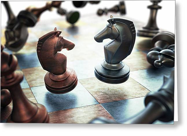 Chess Pieces Greeting Card by Ktsdesign