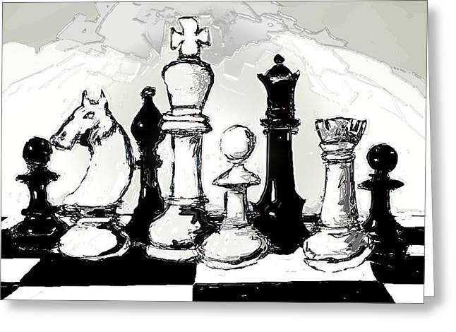 Checkmate Digital Art Greeting Cards - Chess Pieces Greeting Card by Paul Sutcliffe