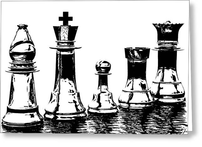Chess Piece Digital Greeting Cards - Chess Pieces Greeting Card by Richard Hinds