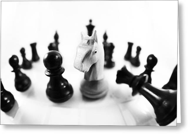 Chess Player Greeting Cards - Chess Posters black and white Greeting Card by Falko Follert