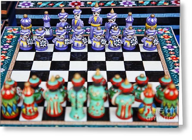 Board Game Greeting Cards - Chess set in Bukhara Uzbekistan Greeting Card by Robert Preston