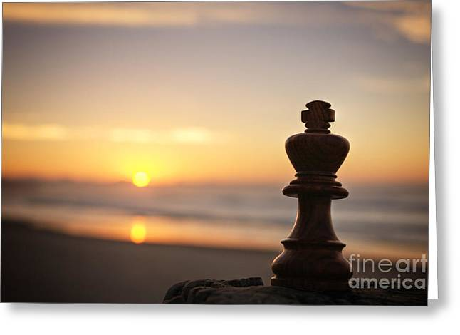 Chess King Greeting Cards - Chess Sunset Greeting Card by Colin and Linda McKie