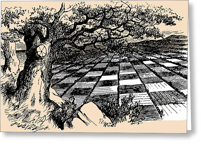 Board Game Greeting Cards - Chessboard Through the Looking Glass Greeting Card by John Tenniel