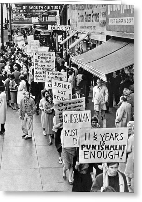 Chessman Execution Protesters Greeting Card by Underwood Archives