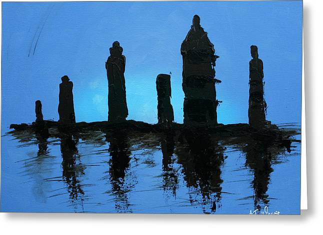 Chessmen At Dusk Greeting Card by AJ Warren